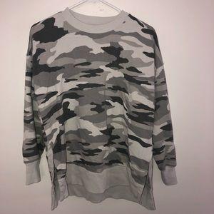 Aerie Grey Camo Crewneck Sweatshirt